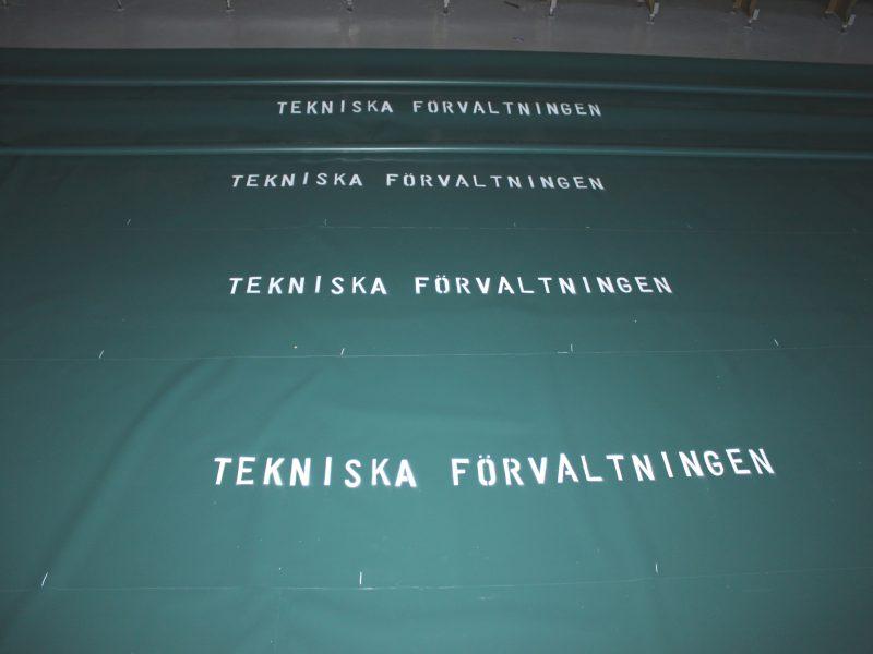 tryck på presenning logotype